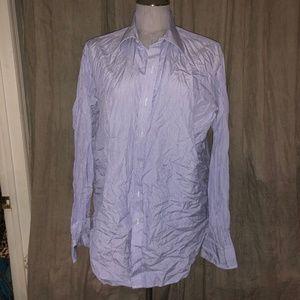 Turnbull & Asser blue engineer striped shirt XL
